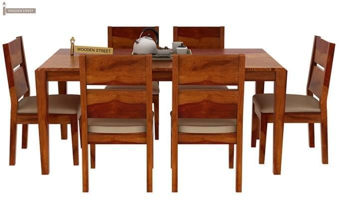 Kietel 6 Seater Dining Set (Honey Finish)-1