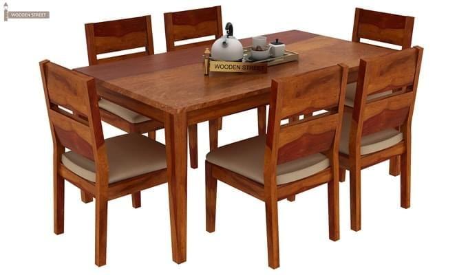 Kietel 6 Seater Dining Set (Honey Finish)-2
