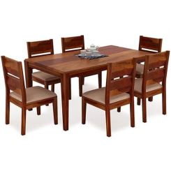 Kietel 6 Seater Dining Set (Honey Finish)