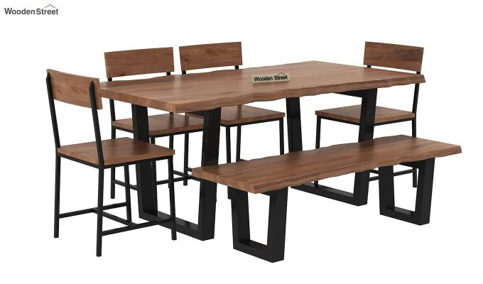 Live Edge 6 Seater Dining Set with Bench (Natural Finish)-3