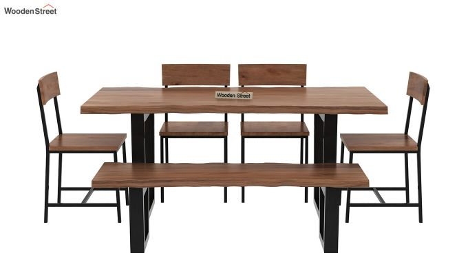 Live Edge 6 Seater Dining Set with Bench (Natural Finish)-4