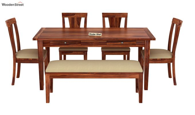 Mcbeth Storage 6 Seater Dining Table Set With Bench (Honey Finish)-3