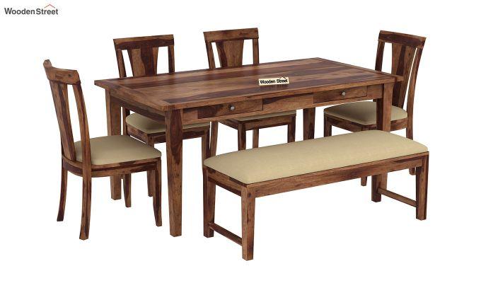 Mcbeth Storage 6 Seater Dining Table Set With Bench (Teak Finish)-2