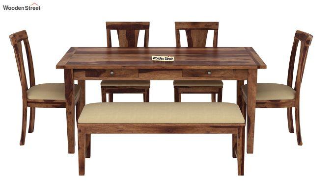 Mcbeth Storage 6 Seater Dining Table Set With Bench (Teak Finish)-3