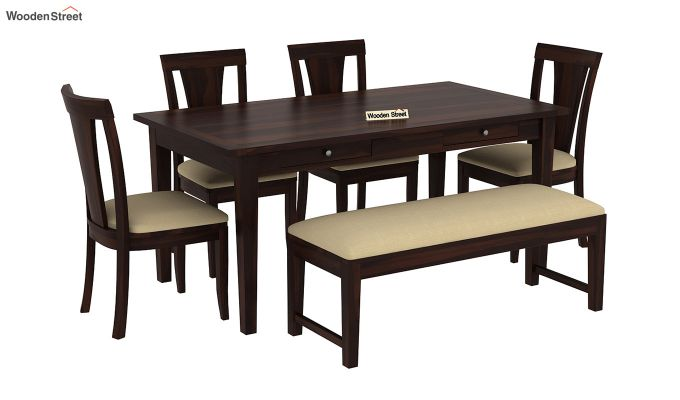 Mcbeth Storage 6 Seater Dining Table Set With Bench (Walnut Finish)-2