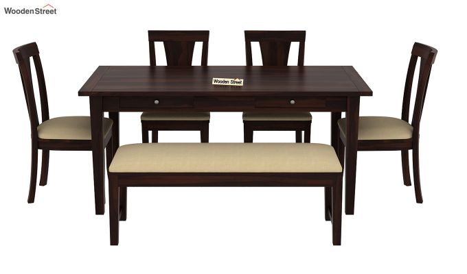 Mcbeth Storage 6 Seater Dining Table Set With Bench (Walnut Finish)-3