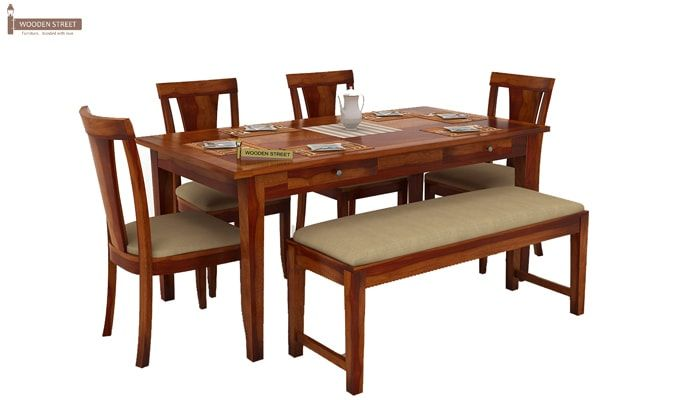 Mcbeth Storage 6 Seater Dining Table Set With Bench (Honey Finish)-2