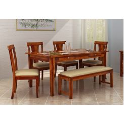 Mcbeth Storage 6 Seater Dining Table Set With Bench (Honey Finish)