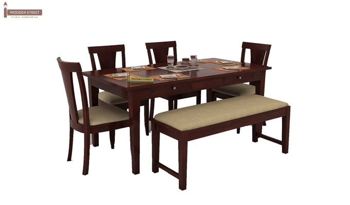 Buy Mcbeth Storage 6 Seater Dining Table Set With Bench