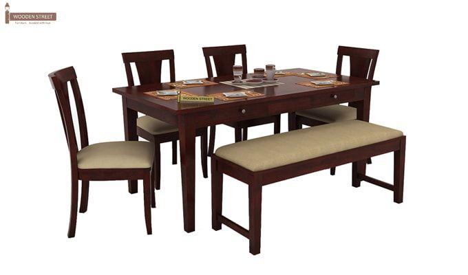 Mcbeth Storage 6 Seater Dining Table Set With Bench (Mahogany Finish)-2