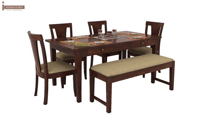 Mcbeth Storage 6 Seater Dining Table Set With Bench (Walnut Finish)-1