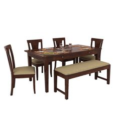 Mcbeth Storage 6 Seater Dining Table Set With Bench (Walnut Finish)