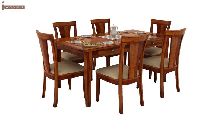 Buy Mcbeth Storage 6 Seater Dining Table Set Honey Finish Online