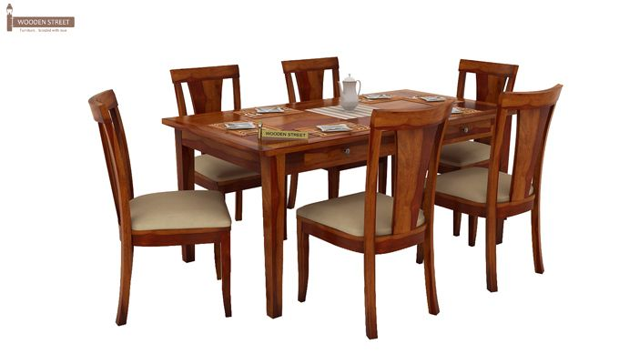 Mcbeth Storage 6 Seater Dining Table Set (Honey Finish)-3