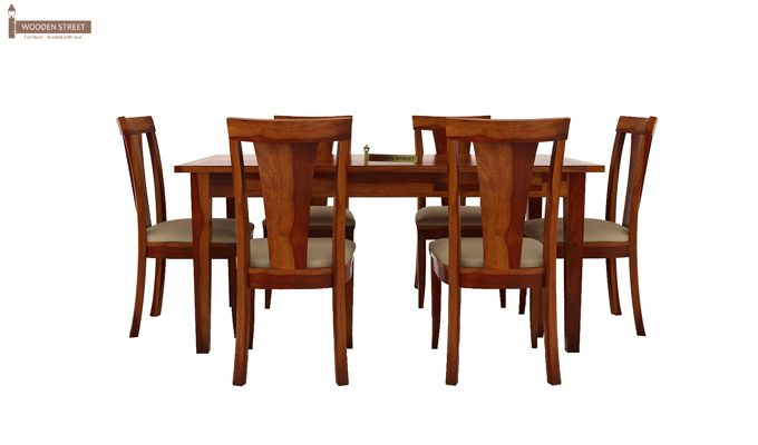 Mcbeth Storage 6 Seater Dining Table Set (Honey Finish)-4