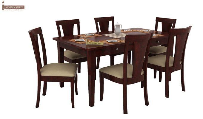 Mcbeth Storage 6 Seater Dining Table Set (Mahogany Finish)-2