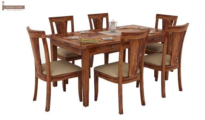 Mcbeth Storage 6 Seater Dining Table Set (Teak Finish)-2