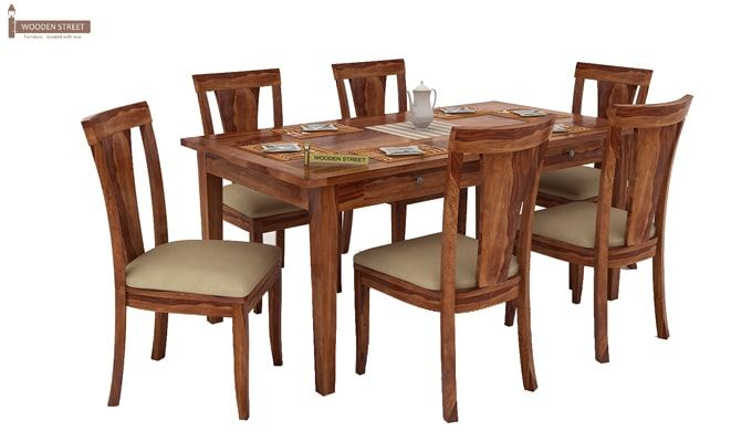 Mcbeth Storage 6 Seater Dining Table Set (Teak Finish)-3