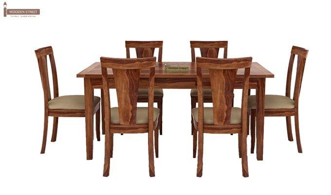 Mcbeth Storage 6 Seater Dining Table Set (Teak Finish)-4