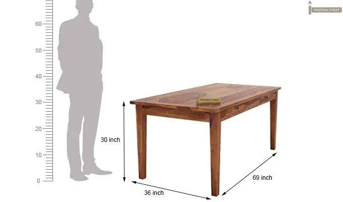 Mcbeth Storage 6 Seater Dining Table Set (Teak Finish)-14