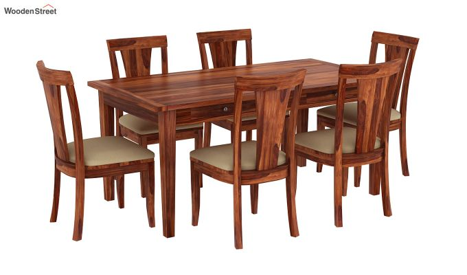 Mcbeth Storage 6 Seater Dining Table Set (Honey Finish)-2
