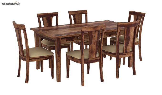 Mcbeth Storage 6 Seater Dining Table Set (Teak Finish)-2