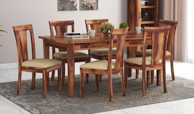 Mcbeth Storage 6 Seater Dining Table Set (Teak Finish)-1