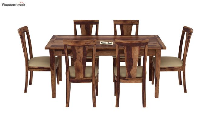 Mcbeth Storage 6 Seater Dining Table Set (Teak Finish)-3