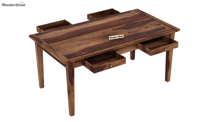 Mcbeth Storage 6 Seater Dining Table Set (Teak Finish)-7