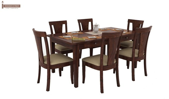 Mcbeth Storage 6 Seater Dining Table Set (Walnut Finish)-1