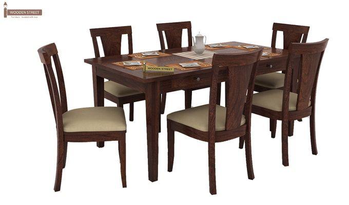 Mcbeth Storage 6 Seater Dining Table Set (Walnut Finish)-2