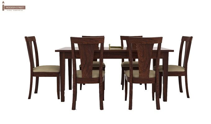 Mcbeth Storage 6 Seater Dining Table Set (Walnut Finish)-3