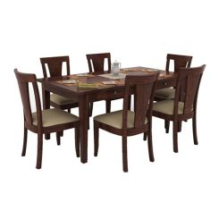 Mcbeth Storage 6 Seater Dining Table Set (Walnut Finish)