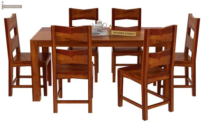 Mckinley 6 Seater Dining Set (Honey Finish)-1