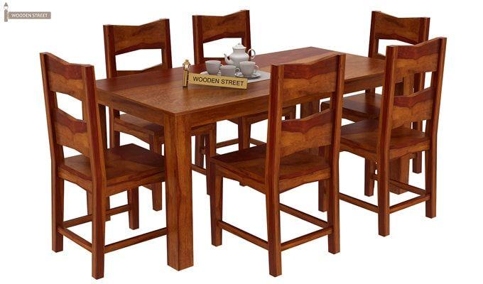 Mckinley 6 Seater Dining Set (Honey Finish)-2