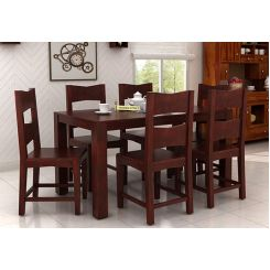 Mckinley 6 Seater Dining Set (Mahogany Finish)
