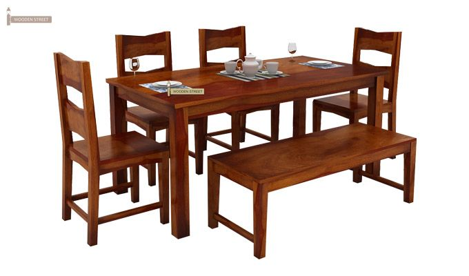 Mckinley 6 Seater Dining Set With Bench (Honey Finish)-1