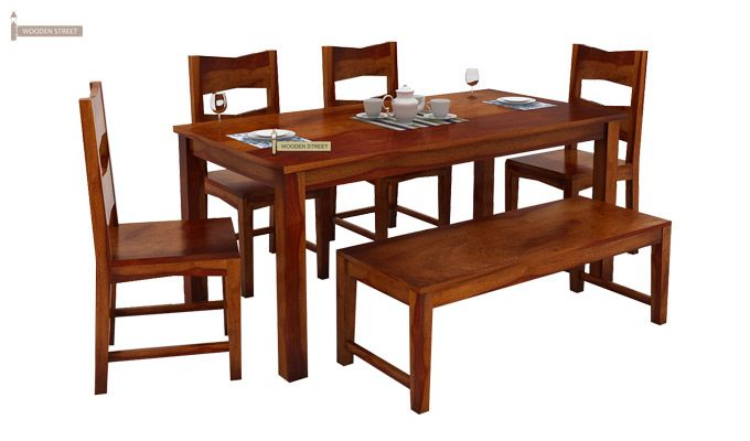 Mckinley 6 Seater Dining Set With Bench (Honey Finish)-2