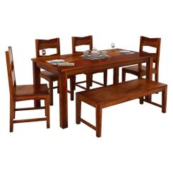 Mckinley 6 Seater Dining Set With Bench (Honey Finish)