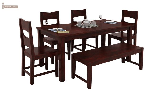 Mckinley 6 Seater Dining Set With Bench (Mahogany Finish)-2