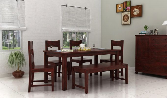 Mckinley 6 Seater Dining Set With Bench (Mahogany Finish)-1