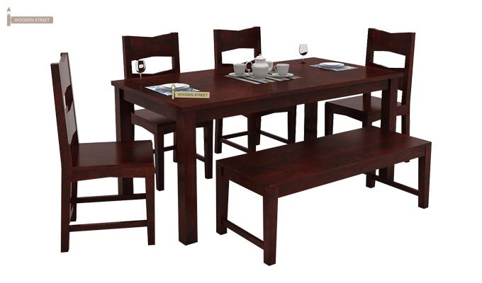 Mckinley 6 Seater Dining Set With Bench (Mahogany Finish)-3