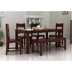 Mckinley 6 Seater Dining Set With Bench (Mahogany Finish)