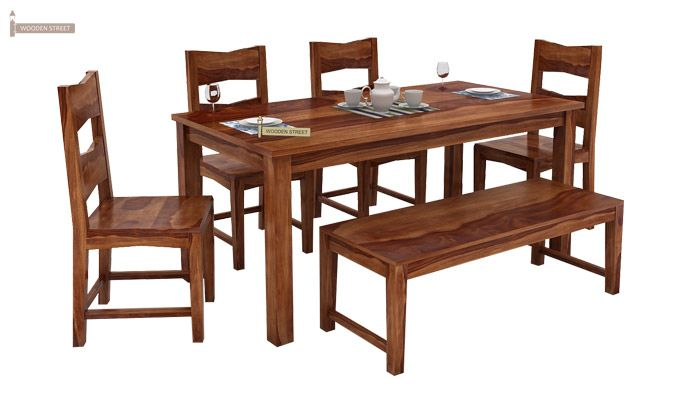 Mckinley 6 Seater Dining Set With Bench (Teak Finish)-2