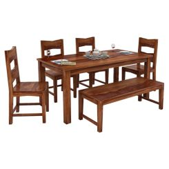 Mckinley 6 Seater Dining Set With Bench (Teak Finish)