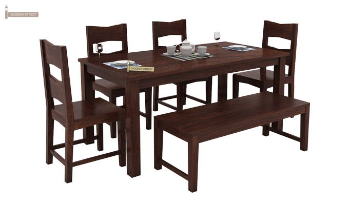Mckinley 6 Seater Dining Set With Bench (Walnut Finish)-1