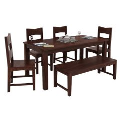 Mckinley 6 Seater Dining Set With Bench (Walnut Finish)