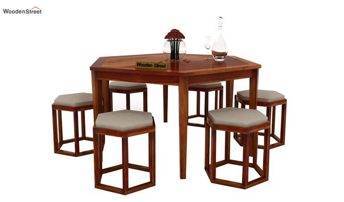Mohave 6 Seater Dining Table Set (Honey Finish)-1