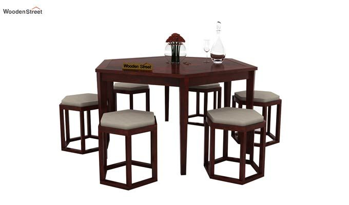 Mohave 6 Seater Dining Table Set (Mahogany Finish)-1