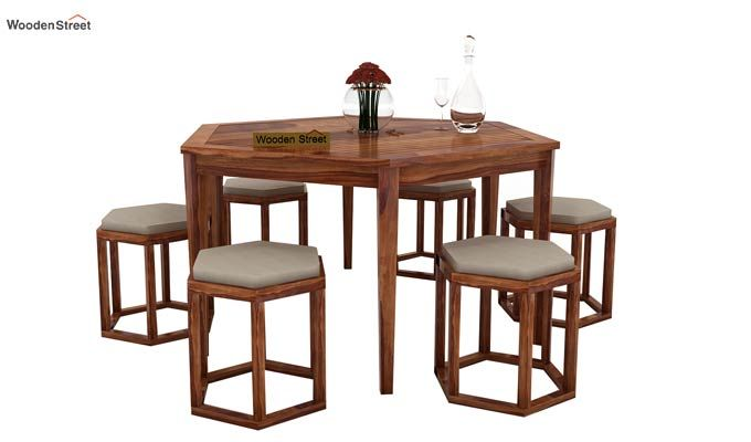 Mohave 6 Seater Dining Table Set (Teak Finish)-1